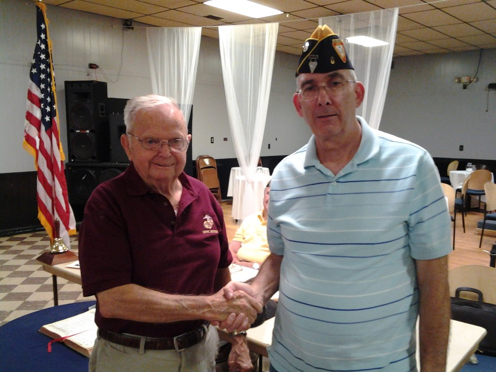 Shipmate Kinney receiving his 45 year continuous membership pin from Shipmate Rogers 0n 12 August 2014