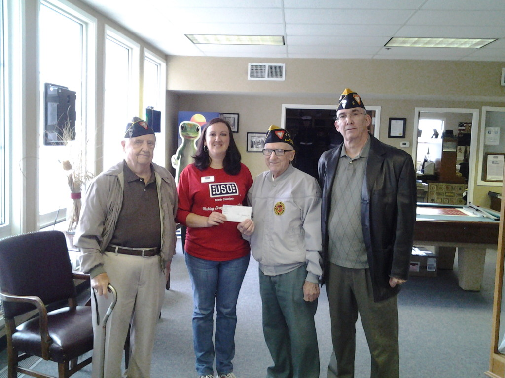 S/M'S HEMMINGWAY, BAUM AND ROGERS PRESENTING A $250.00 DONATION TO KRISI BOSTICK OF THE USO ON 2 DECEMBER 2014