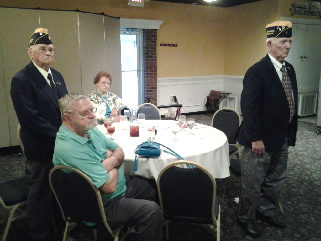 Shipmate George Barrows, Shipmate Charles Good, Cathy Baum (wife of Shipmate Bob Baum) and Shipmate Curtis Erickson at the Installation Ceremony on 9 June 2015