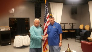 "SHIPMATE DELBERT ""JACK"" GLOVER RECEIVING HIS 25 YEAR CONTINUOUS MEMBERSHIP PIN FROM SHIPMATE MARK ROGERS ON 12 JULY 2016"