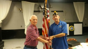 SHIPMATE CURTIS ERICKSON RECEIVING HIS 35 YEAR CONTINUOUS MEMBERSHIP PIN FROM SHIPMATE MARK ROGERS ON 9 AUGUST 2016