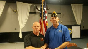 SHIPMATE JOSEPH ESTEP RECEIVING HIS 15 YEAR CONTINUOUS MEMBERSHIP PIN FROM SHIPMATE MARK ROGERS ON 9 AUGUST 2016