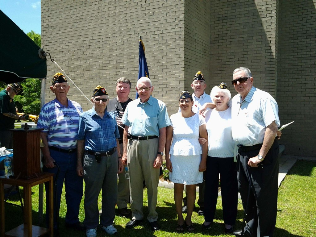 SHIPMATE ERICKSON, SHIPMATE BAUM, ONSLOW COUNTY SHERIFF HANS MILLER, SHIPMATE CLEVELAND, AIDA LITTLEJOHN (UNIT 208), SHIPMATE ROGERS, ROSA LEE SPORBERT (UNIT 208) AND SHIPMATE HARPER AT THE MEMORIAL DAY CEREMONY ON 25 MAY 2015