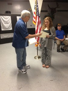 CAMILLE CARR RECEIVING HER FIRST PLACE TWELFTH GRADE BRANCH AWARD FOR HER AMERICANISM ESSAY FROM S/M PAUL MIETHKER ON 8 MARCH 2016